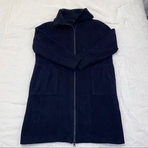 Turnover Navy Wool Blend Coat